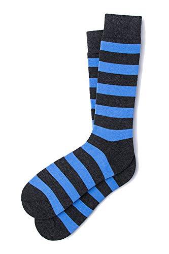 Men's Designer Collegiate College Rugby Striped Stripe Crew Dress Socks (Blue & Heather ()