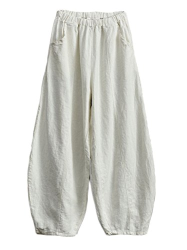 Soojun Women's Cotton Linen Retro Pull On Harem Pants with Pockets, White