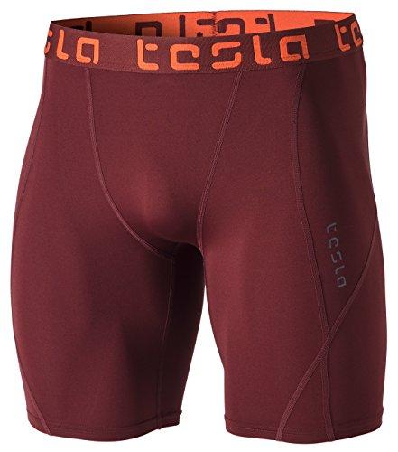 TSLA Mens Compression Shorts Baselayer Cool Dry Sports Tights, Athletic(mus17) - Brick, Small.