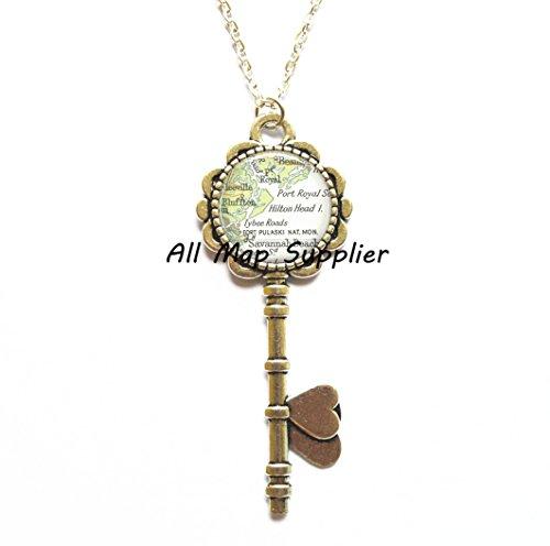 Charming Key Necklace,Hilton Head Island, South Carolina map Key Pendant, Hilton Head map Key Necklace, Hilton Head map Key Pendant,A0102