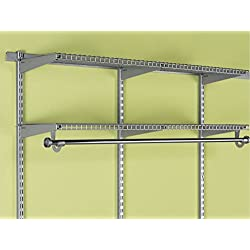 "Rubbermaid Configurations Add-On Shelving and Hanging Clothes Kit, Titanium, 48"", FG3H9200TITNM"