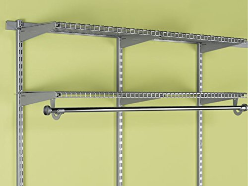 """Rubbermaid Configurations Add-On Shelving and Hanging Clothes Kit, Titanium, 48"""", FG3H9200TITNM"""