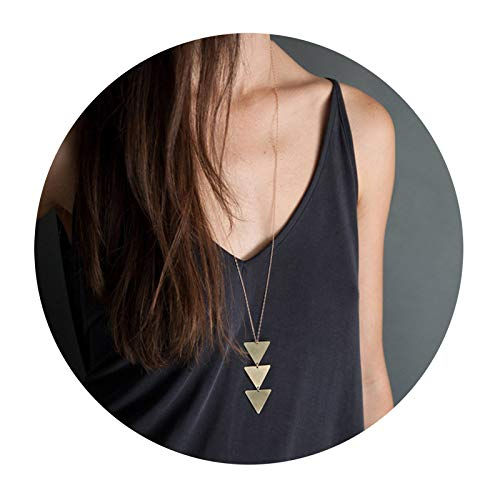 (Dcfywl731 Fashion Three Triangle Arrow Long Chain Pendant Necklace for Women Metal Geometric Sweater Necklace Punk Jewelry (Gold) )