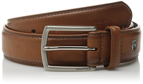 Nautica Men's Feathered Edge with Double-Stitch Casual Leather Belt,Cognac,40