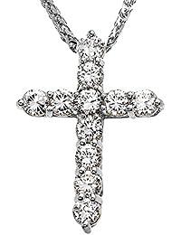 Elegant 14k White Gold 4 Carat Round Cubic Zirconia Cross Pendant Necklace (Medium)