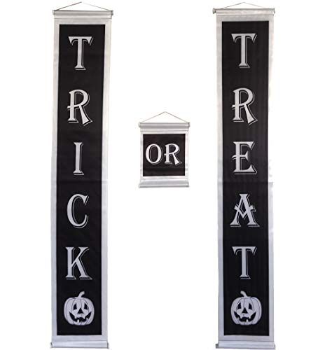 Trick or Treat Halloween Banner 3-Pc Set Cute Outdoor Large Party Decorations Welcome Kids Home Yard Old Vintage Gothic Wall Cool Best Kit Pumpkin Outside Indoor Fun Sign Flag 80s Swing Flag Mat