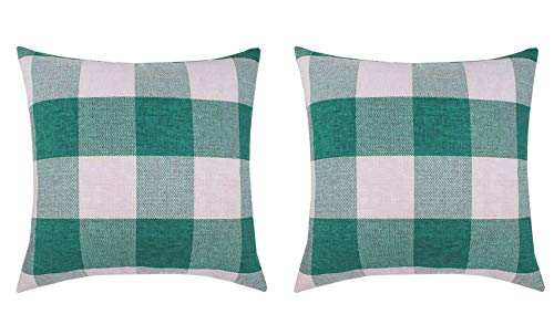 - 2Pack Baffalo Plaid Decorative Throw Pillow Cover with Zipper, Farmhouse Décor, Couch Pillow - 18