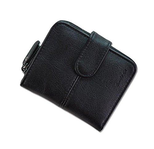 Ylen Damen Zweifach Geldbörse Klein Brieftasche Kurze Portemonnaie mit Münze Tasche Karte Halter Schwarz