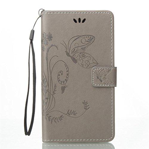 Erdong® Magnético Folio Flip Caso Con pata de cabra titular de la tarjeta Para Asus Zenfone 3 ZE552KL 5.5, Elegant Simple Book-style [Gris flor de mariposa] patrón de impresión cuero del soporte Foli