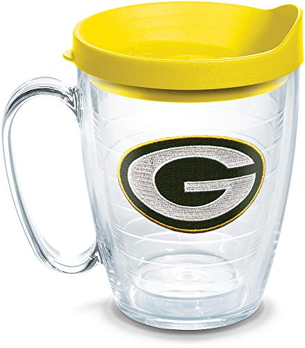 Tervis 1097404 NFL Green Bay Packers Primary Logo Tumbler with Emblem and Yellow Lid 16oz Mug, Clear