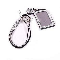 Gray Rhinestone Crystal Necklace Badge Card Holder