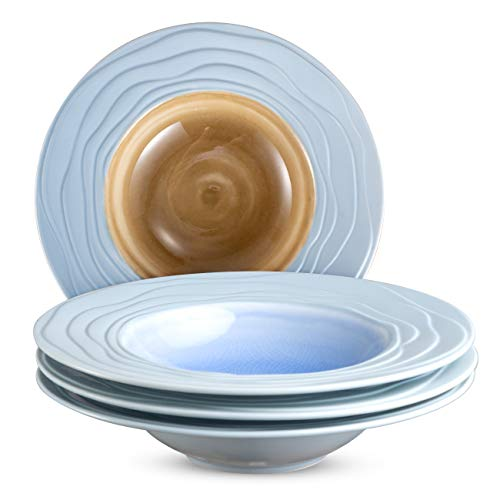 M-MAX 9 Inches Pasta Plates Soup Plates Porcelain Soup Bowls with Wide Rim Set of 4 - ()