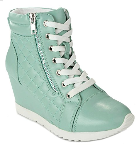 Women Adriana12 Mint Sporty Leatherette Lace-up Quilted High Top Wedge Sneaker Bootie Shoes-7.5