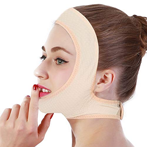 Facial Slimming Lifting Chin Belt Mask with Silicone Massage,V Line Band Neck Compression Face,Anti Double Chin Wrinkle Strap Weight Loss Bandage Ajustable Firming Face Skin Care Lifting Wrap