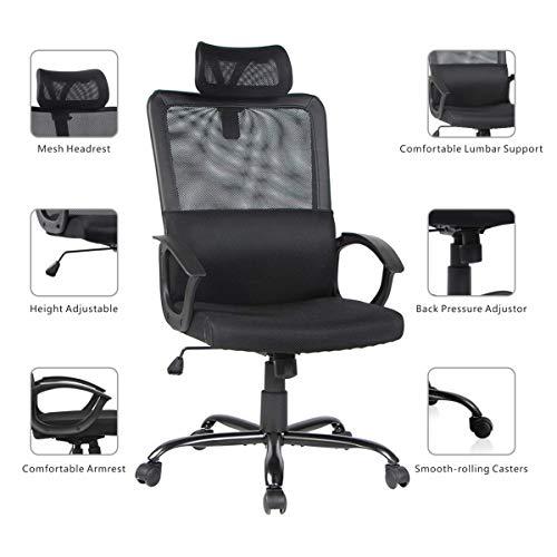 Smugdesk Ergonomic Office Chair Adjustable Headrest Mesh Office Chair Office Desk Chair Computer Task Chair (Black) - 2579 Photo #4