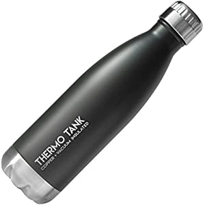 Thermo Tank Insulated Stainless Steel Water Bottle - Ice Cold 36 Hours! Vacuum + Copper Technology - 17 Ounce (Charcoal, 17oz)