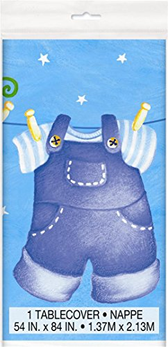 Blue Clothesline Boy Baby Shower Plastic Tablecloth, 84