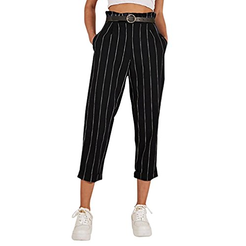 Clearance Sale Womens Trousers vermers Women's Striped Slim Straight Leg Casual Button Pants With Pockets(L, Black)