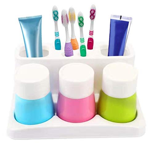 ENJOYPRO Toothbrush Holder 5 Hole Toothpaste Stand Bathroom Organizer with 3 Rinse Cups for Family Set