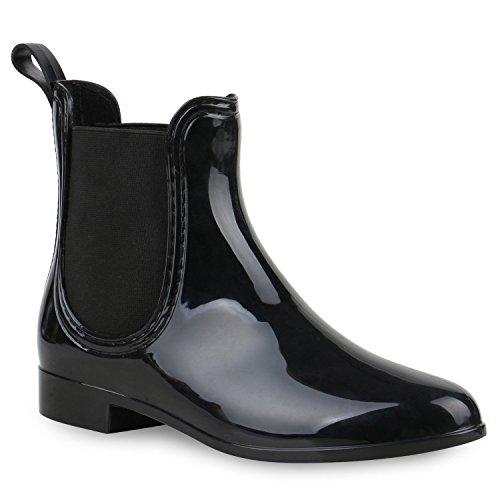 Stiefelparadies Damen Stiefeletten Chelsea Boots Gummistiefeletten Lack Gummistiefel Regenschuhe Flandell Schwarz Schwarz
