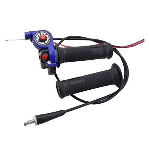 Blue Throttle - GOOFIT Universal Blue 7/8'' Twist Throttle Grips with Light Switch+Cable for Honda Yamaha Ducati Dirt Bike Go Kart