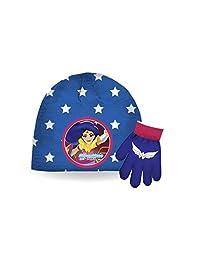 DC Comics Girl's Super Heroes Hat & Gloves Set (4-6X)