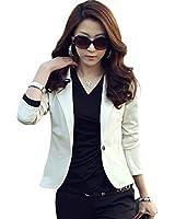 Zacoo Women's Slim Lapel Cotton Office Blazer Size M Color beige