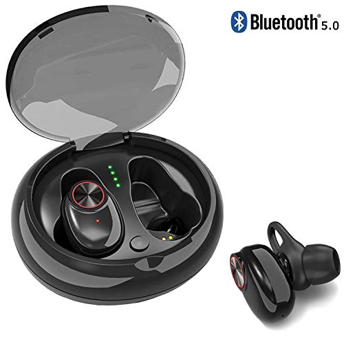 Bluetooth 5.0 Wireless Earbuds, ZACTEK TWS 3D Stereo Sound Earphones with Charging Case IPX6 Waterproof, Cordless Earbuds Sport Headphones for Running, Exercising. Black