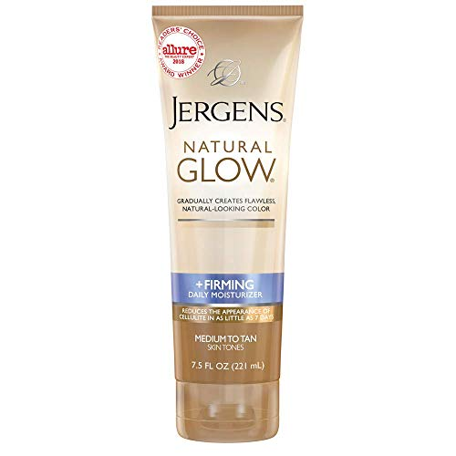 - Jergens Natural Glow +FIRMING Daily Moisturizer for Body, Medium to Tan Skin Tones, 7.5 Ounces