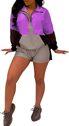 Womens Reflective Windbreaker 2 Pieces Outfit Crop Top Shorts Jogger Set Romper Tracksuit Pink Purple ()