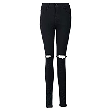 b7fcdb525e7 Baiggooswt Women Cool Ripped Knee Cut Skinny Long Jeans Pants Slim Pencil  Trousers Fashion at Amazon Women's Jeans store