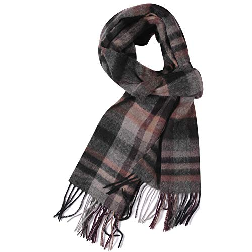 WAMSOFT Mens Wool Scarf, Womens Fashion Cashmere Feel Tartan Plaid Checked Elegant Scarf Long Neck with Tassels, - Scarf Wool