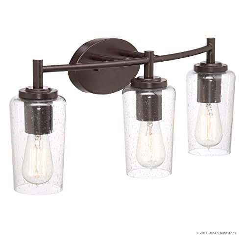 Luxury Vintage Bathroom Vanity Light, Medium Size: 10''H x 23''W, with Antique Style Elements, Elegant Estate Bronze Finish and Seeded Glass, Includes Edison Bulbs, UQL2272 by Urban Ambiance by Urban Ambiance (Image #7)