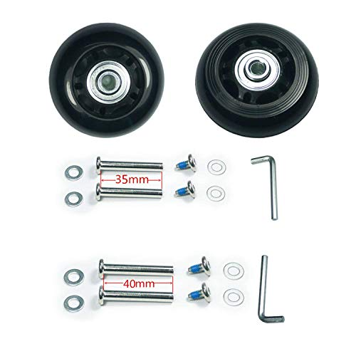 F-ber Luggage Suitcase Replacement Wheels Kit 54mm x 18mm with ABEC 608zz Skate, Inline Outdoor Skate Replacement Wheels, One Set of (2) Wheels (OD:54 W:18 ID:6 Axles:35) ()