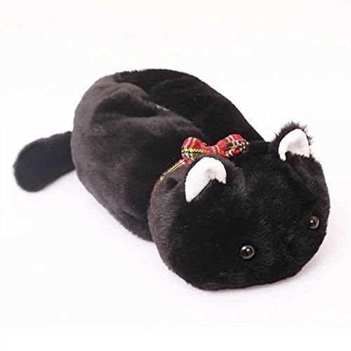 WuKong Cartoon Animal Design Cat Plush Napkin Tissue Box Case Holder Cover (black)