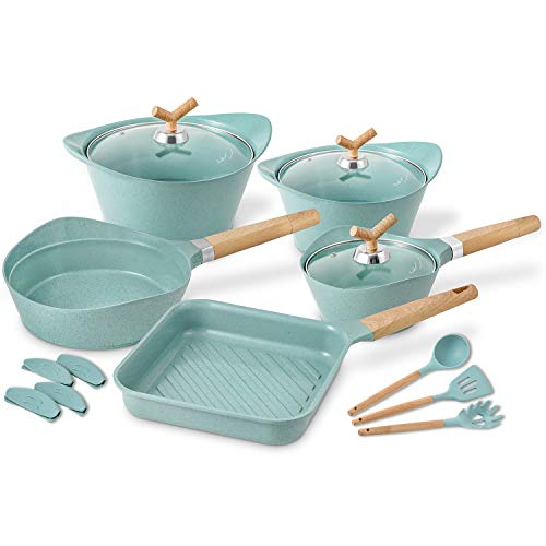 Cookware Set Non-Stick Scratch Resistant 100% PFOA Free Induction Pots and Pans Set with Cooking Utensil Pack -15 -Jade