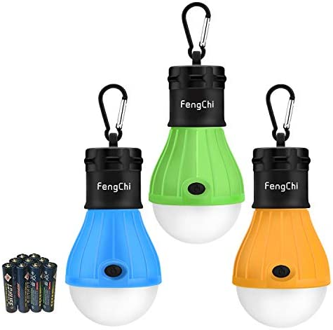 FengChi LED Camping Lantern, 3 Pack Portable Outdoor Tent Light Emergency Bulb Light for Camping, Hiking, Fishing,Hurricane, Storm, Outage