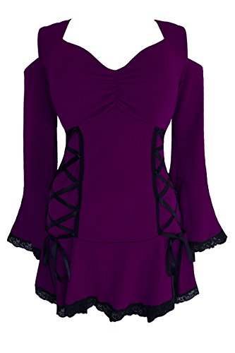 Dare to Wear Victorian Gothic Boho Plus Size Temptation Corset Top Plum (Peek A-boo Pirate)