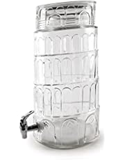 Circleware 69126/R Tower of Pisa Mason Jar Beverage Dispenser with Glass Lid Huge 2.2 Gallon Capacity, Glassware for Water, Juice, Beer, Wine, Liquor, Kombucha Iced Punch and Best Selling Cold Drinks