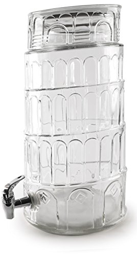 Circleware Tower of Pisa Glass Beverage Drink Dispenser, 2.2 Gallons, Clear, Limited Edition Glassware