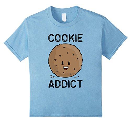 Kids Cookie Addict Chocolate Chip Emoticon T-shirt 12 Baby Blue