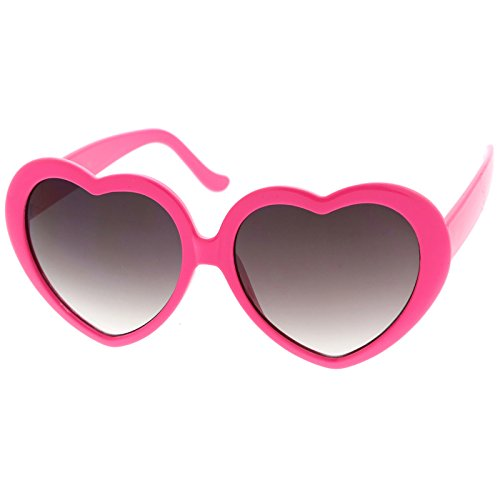 zeroUV - Women's Oversize Gradient Lens Heart Sunglasses 55mm (Hot Pink / - Pink Heart Glasses