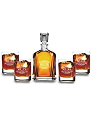 Krezy Case Personalized Decanter Set with Wooden Box - Gift for Groomsmen - Decanter with 4 Whiskey Glasses - Anniversary, Engagement Gift Set, 100% Lead Free - Christmas Gift