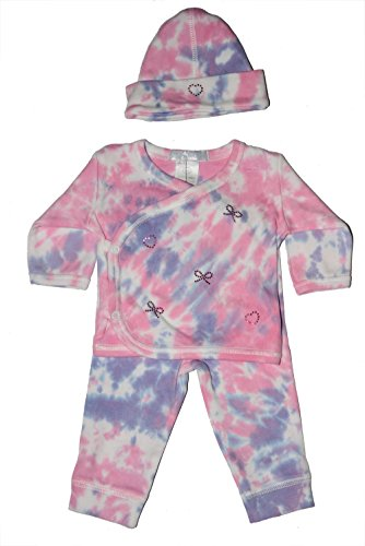 (Baby Girl 3 Piece Tie-Dye Take Me Home Fuchsia Bow and)