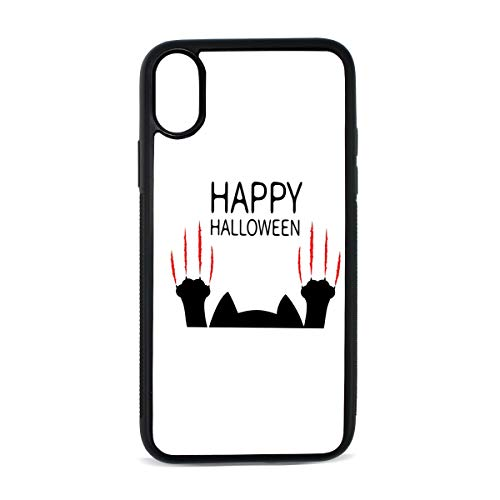 iPhone X case. Happy Halloween Black Cat Paw Shock Absorption TPU+PC+Pearl Plate Material Cover Case Drop Protection Multifunction Phone Case for iPhone X]()