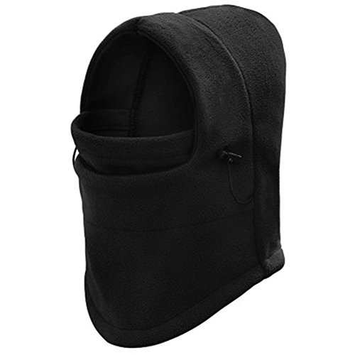 Fleece Balaclava Hat Hood Ski Bike Wind Stopper Face Mask Men Neck Warmer Winter Fleece Neck Helmet Cap (Black) (Youth Camo Stocking Cap)