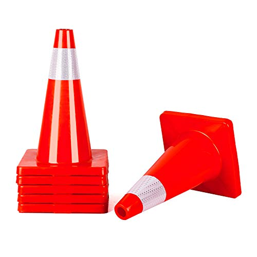 6 Cones 18'' Orange Traffic Safety Cone with Reflective Collar Road Packing PVC Plastic(Set of 6)