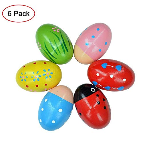 Sanmubo 6PCS Wooden Egg Shakers Maracas Percussion Musical Egg Kids Toys for Party Favors,Easter Basket Stuffers,Easter Egg Fillers,Musical Instrument, Easter Hunt
