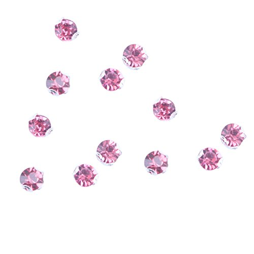 Zijing 100pcs Silver Clear Czech Glass Rhinestone Rose Montees Beads With 4 Holes for Sew On (fuchsia pink--100pcs)