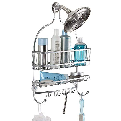 """iDesign York Wire Metal Hanging Shower Caddy Organizer, Extra Large Space for Shampoo, Conditioner, and Soap with Hooks for Razors, Towels, and More, 16"""" x 4"""" x 22"""", Rust Resistant Silver"""